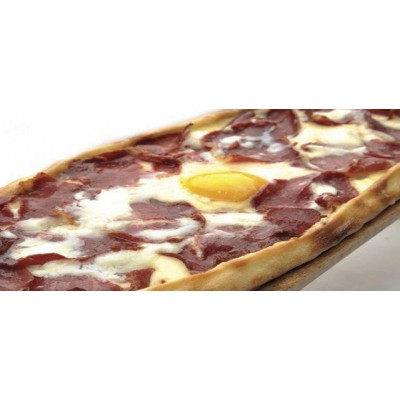 TURKISH PIDE WITH CHEESE AND PASTIRMA